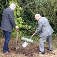 Planting the commemorative tree.